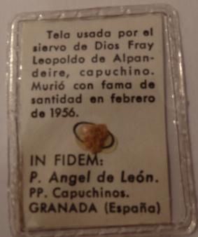 Fray Leopoldo, reliquia
